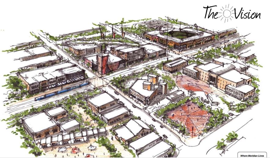 drawing of downtown meridian