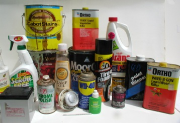 assortment of household products that are corrosive, toxic, ignitable or reactive