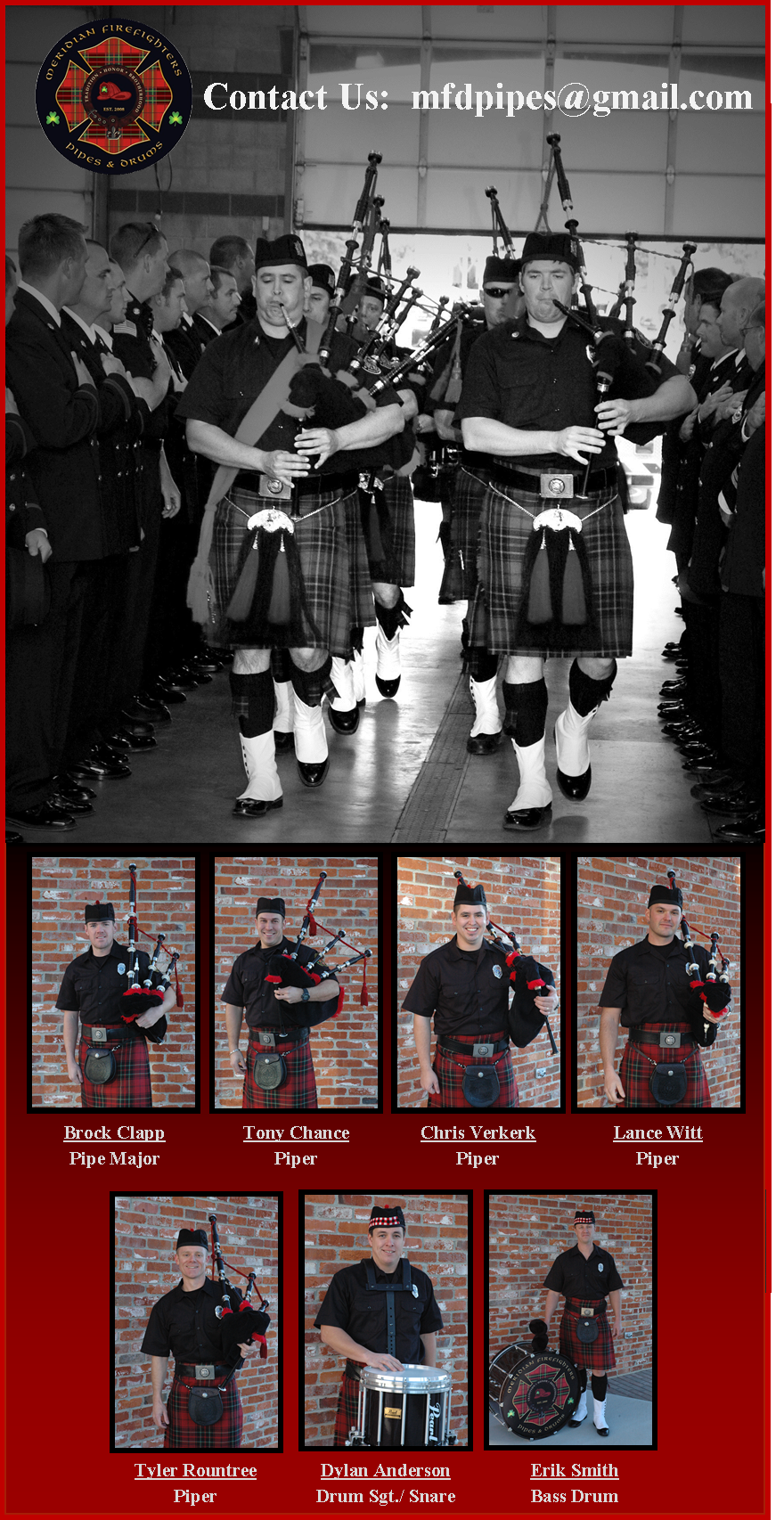 black and white photo of Pipes and Drums members performing at a ceremony, with 7 individual portraits of Pipes and Drums members below