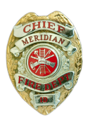 gold and red Fire Chief's badge