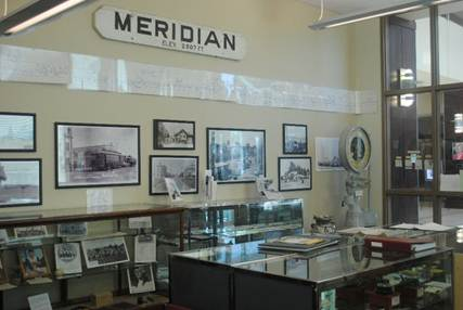 historical photos inside the Meridian History Center in Meridian City Hall