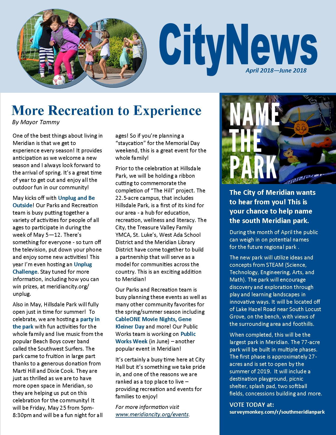page one of CityNews April-June