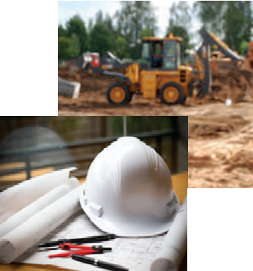 construction gear including hard hat, with construction vehicle in background