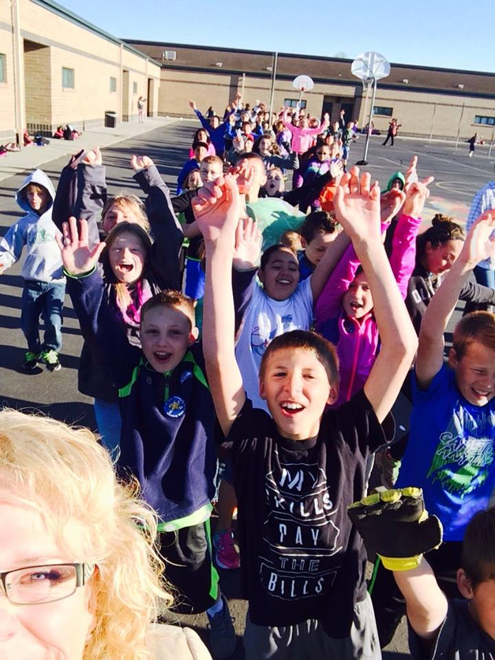 Students enthusiasticall participating in Mayor Tammy's Walking Club