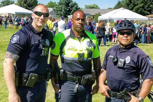 3 Bike Patrol Officers, smiling