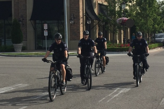 Officers patrolling on bikes