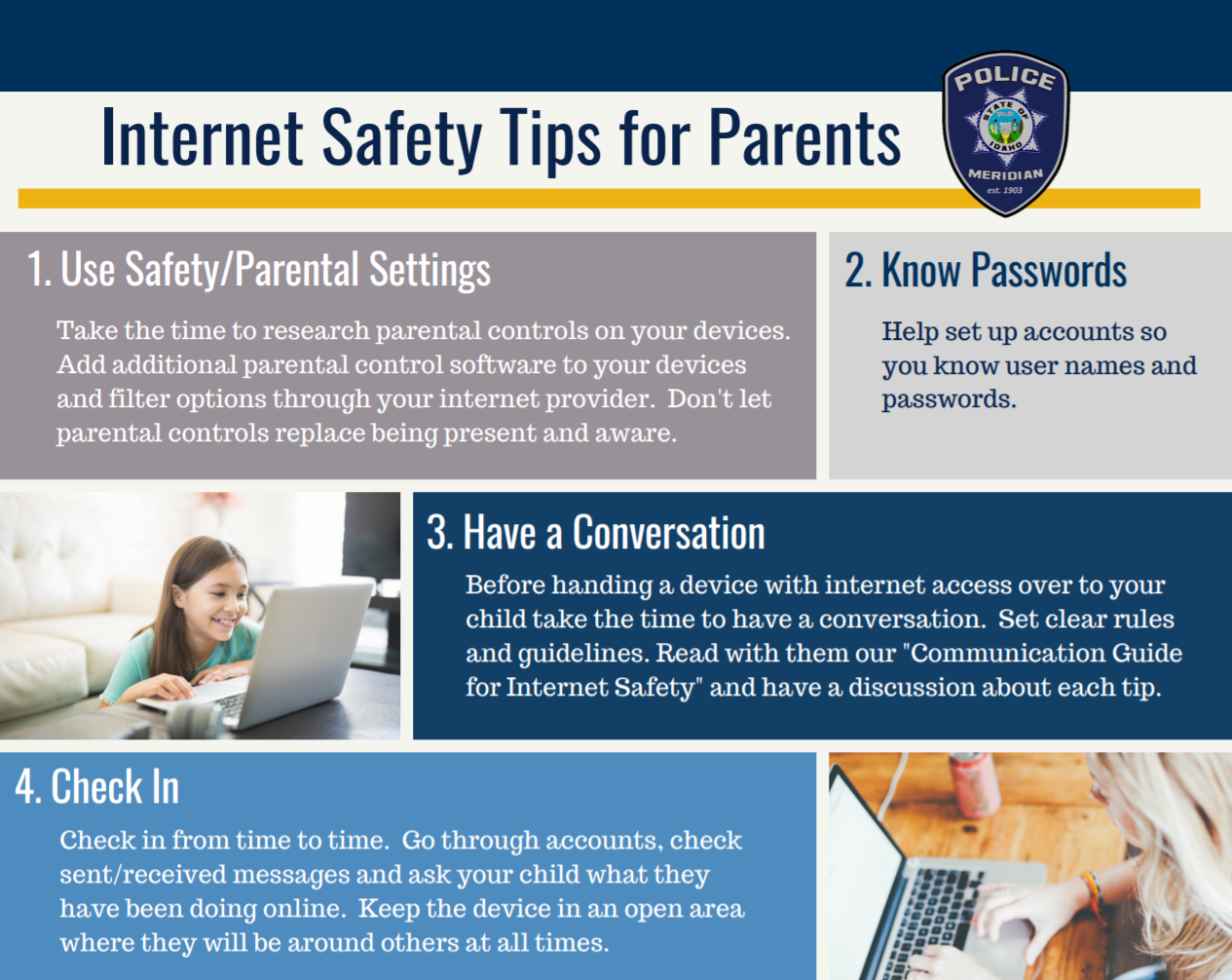first page of Internet Safety Tips pamphlet