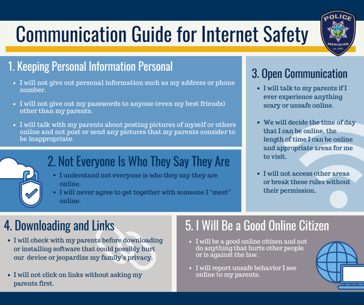 second page of Internet Safety Tips pamphlet