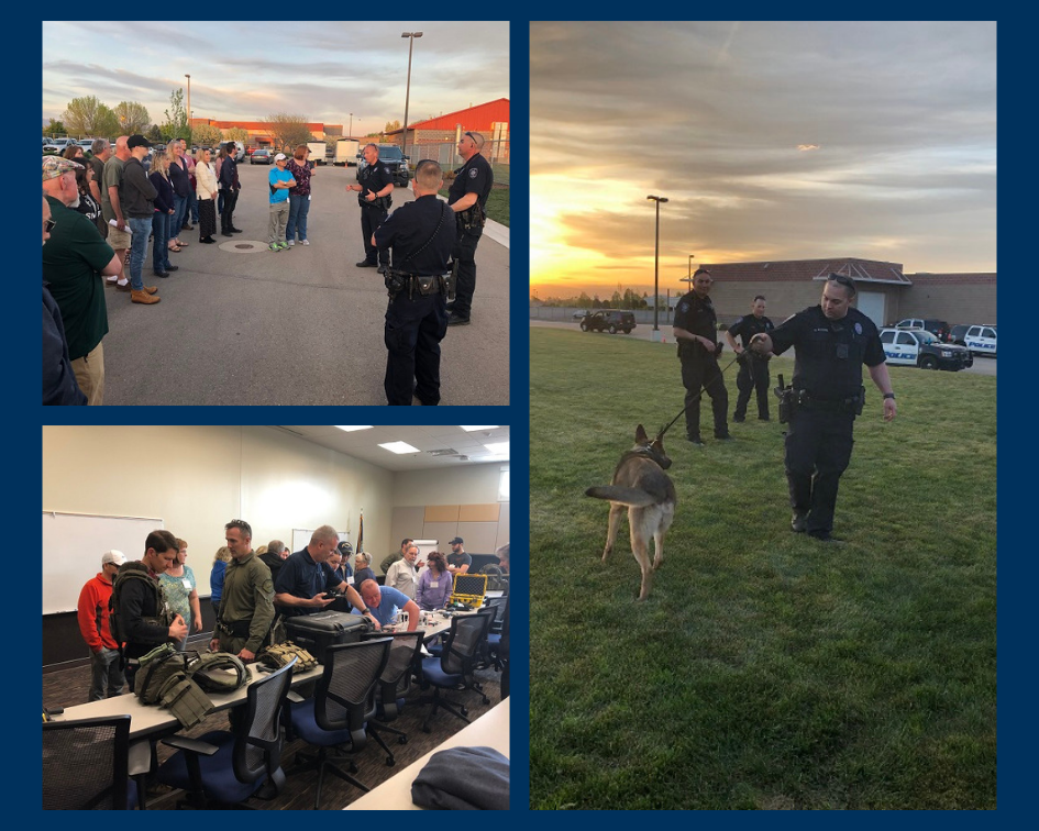 collage- public safety attendies listening to Police presentation, attendies examining protective gear, police with K9 dog at sunset
