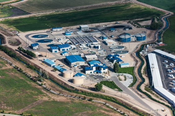 Aerial view of wastewater plant